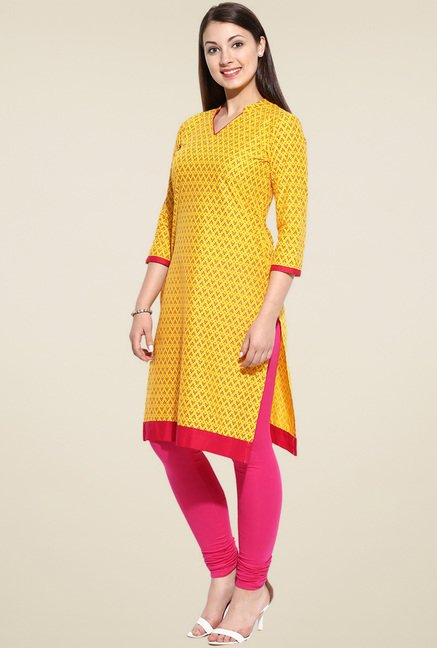 Evam Yellow Mandarin Collar Kurta