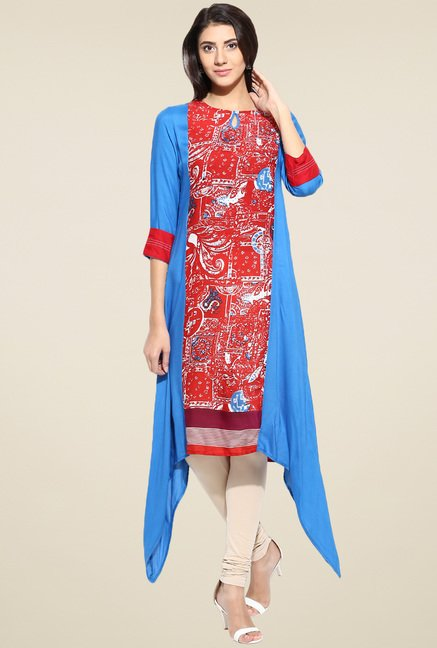 Evam Blue Rayon Printed Long Kurta