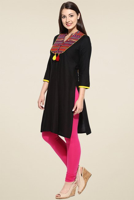 Avaana Black Long Kurta