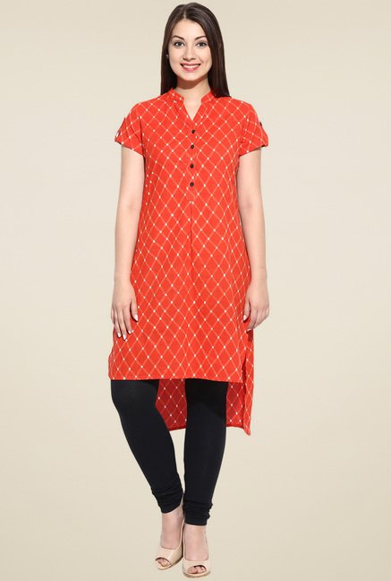 Evam Orange Mandarin Collar Kurta