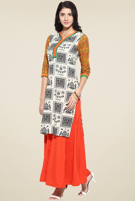 Evam Off-White Cotton Long Kurta
