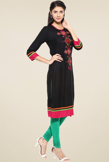 Evam Black Long Rayon Kurta