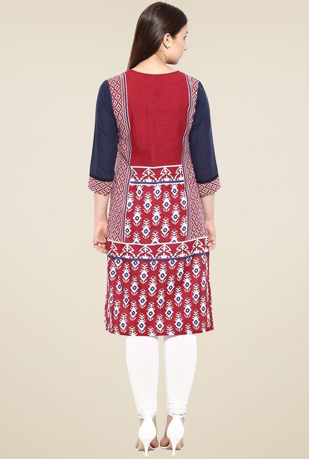 Avaana Red 3/4th Sleeves Long Kurta