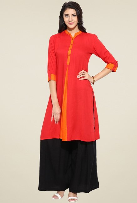 Evam Red Solid Straight Long Kurta