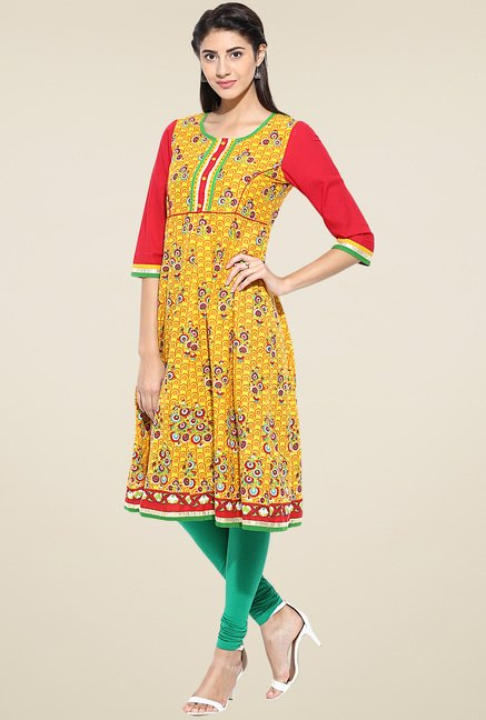 Evam Yellow Cotton Long Kurta