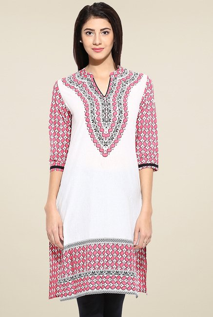 Evam Pink Regular Fit Cotton Kurta