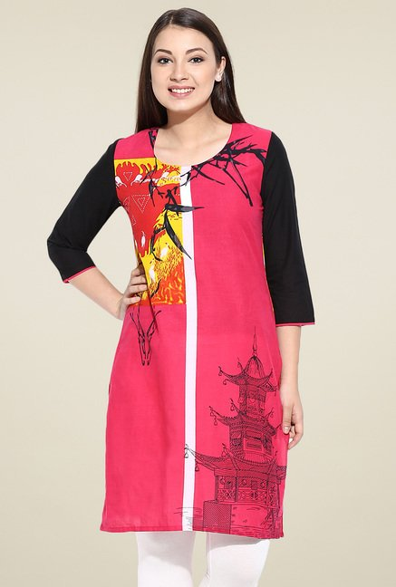 Avaana Pink Cotton Kurta