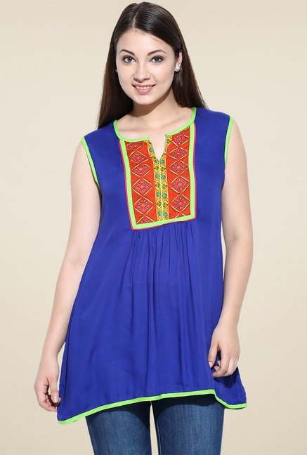 Avaana Blue Sleeveless Long Kurta