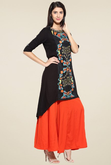 Evam Black 3/4th Sleeves Rayon Kurta
