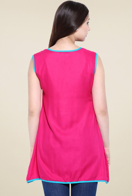 Avaana Fuchsia Sleeveless Long Kurta