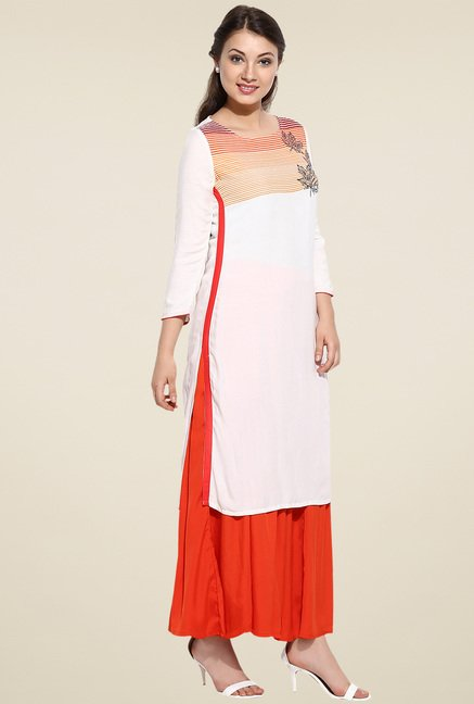 Avaana Off-White Straight Long Kurta