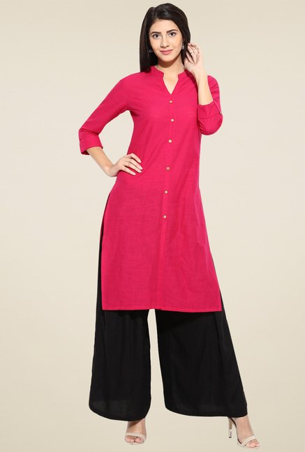 Evam Fuchsia Solid Cotton Long Kurta