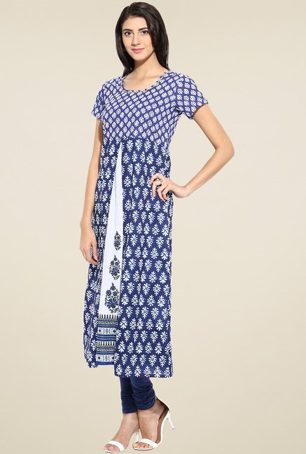 Evam Blue Flaired Fit Long Kurta