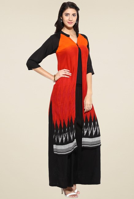 Evam Red Rayon Long Kurta