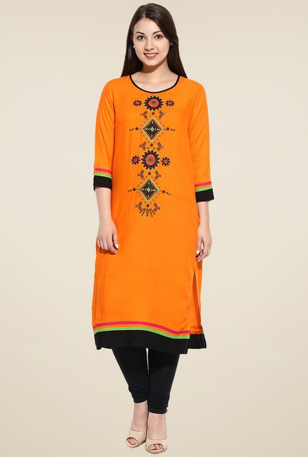 Evam Orange Embroidered Kurta