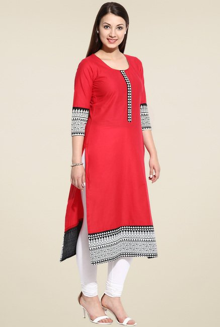Evam Red Printed Long Kurta