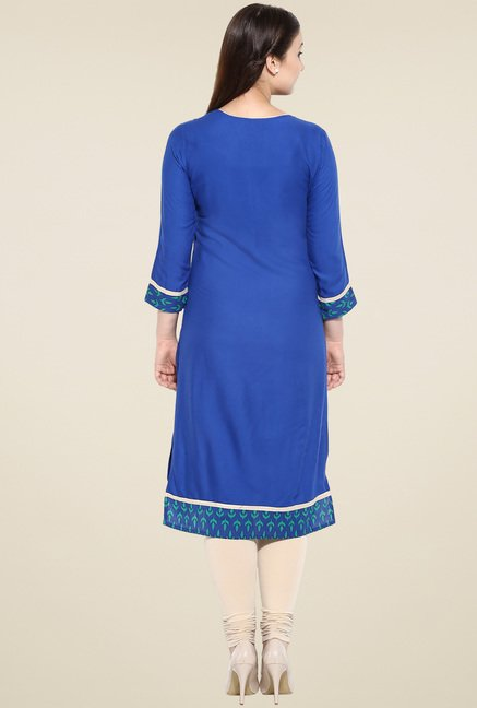 Avaana Royal Blue Straight Long Kurta