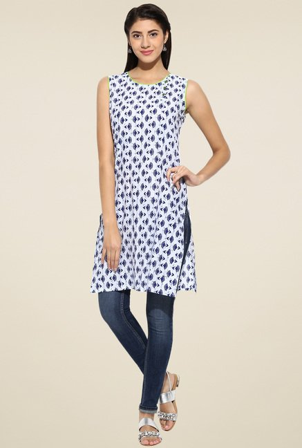Evam White and Indigo Cotton Long Kurta