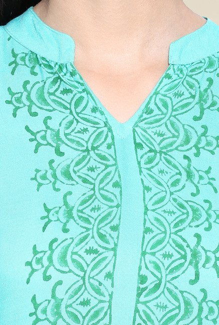 Evam Green Rayon Printed Long Kurta