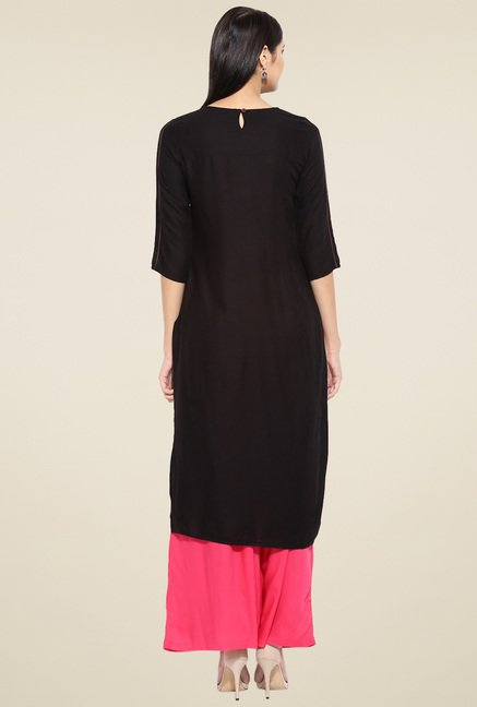 Evam Black Rayon Straight Long Kurta
