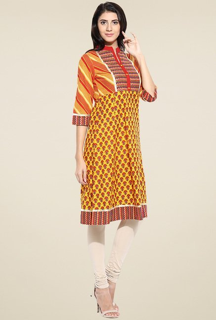 Evam Yellow Cotton Anarkali Kurta