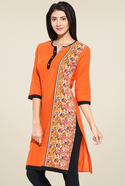 Evam Orange Cotton Long Kurta