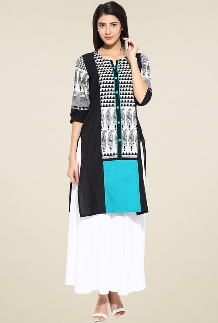 Evam Green Cotton Long Kurta