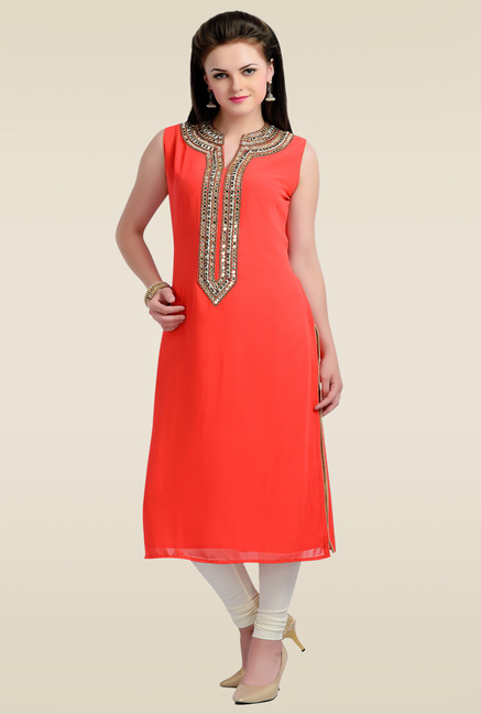 Zola Red Sleeveless Solid Kurti