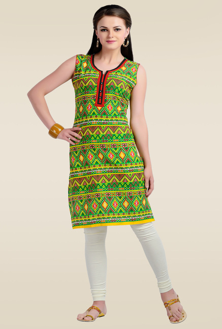 Zola Green Sleeveless Cotton Kurti