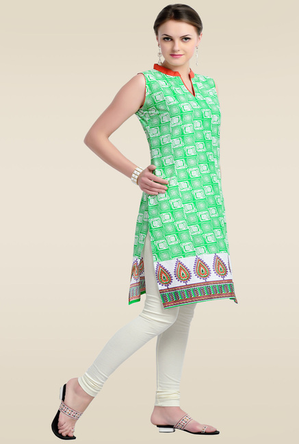 Zola Green Printed Sleeveless Kurti