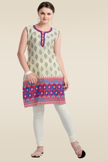 Zola Pink Sleeveless Cotton Kurti