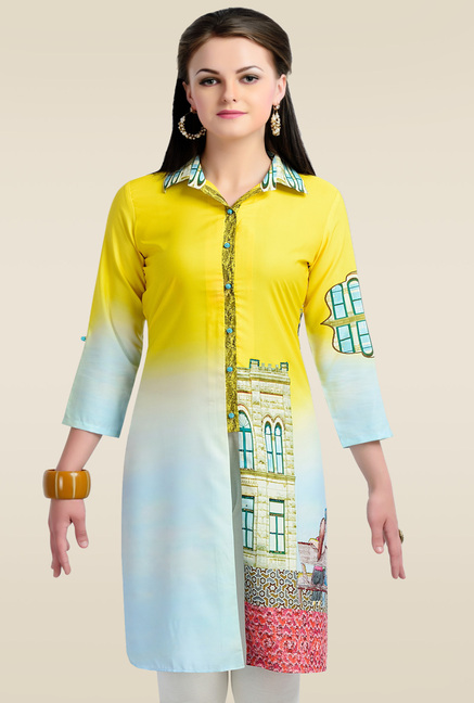 Zola Yellow 3/4th Sleeves Kurti