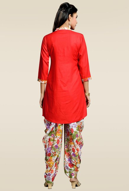 Zola Red Kurta with Multicolor Patiyala