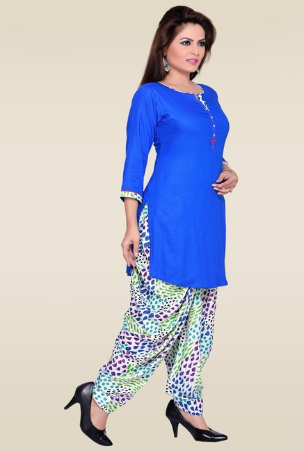 Zola Blue Round Neck Kurta with Multicolor Patiyala