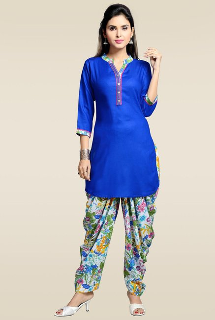 Zola Royal Blue 3/4th Sleeves Kurta with Patiyala