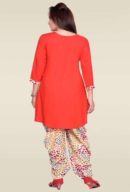 Zola Red Kurta with Multicolor Printed Patiyala