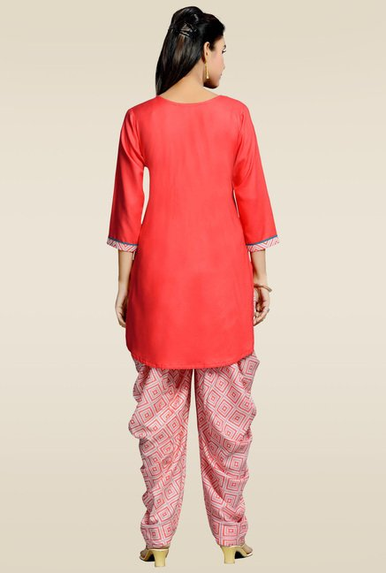 Zola Red Rayon Kurta with Patiyala