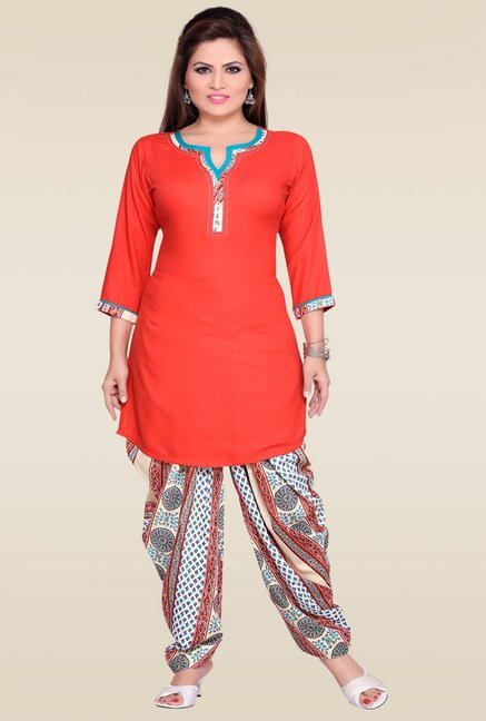 Zola Red 3/4th Sleeves Kurta with Patiyala