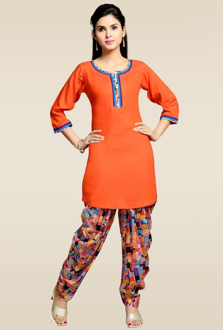 Zola Orange Kurta with Printed Patiyala