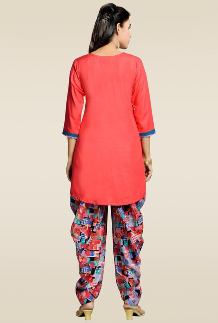 Zola Red Round Neck Rayon Kurta with Patiyala
