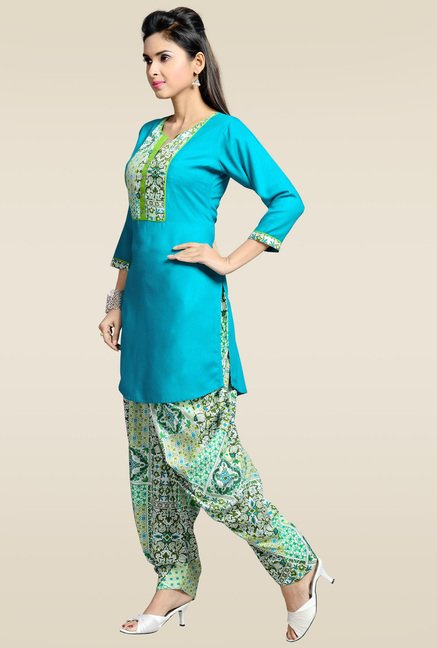 Zola Aqua Blue Kurta with Patiyala