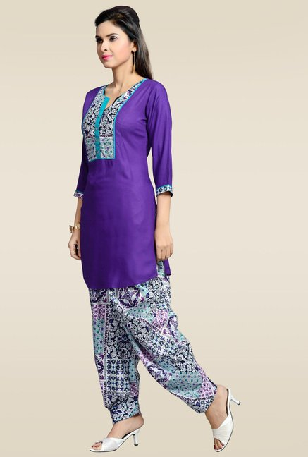 Zola Purple Kurta with Patiyala