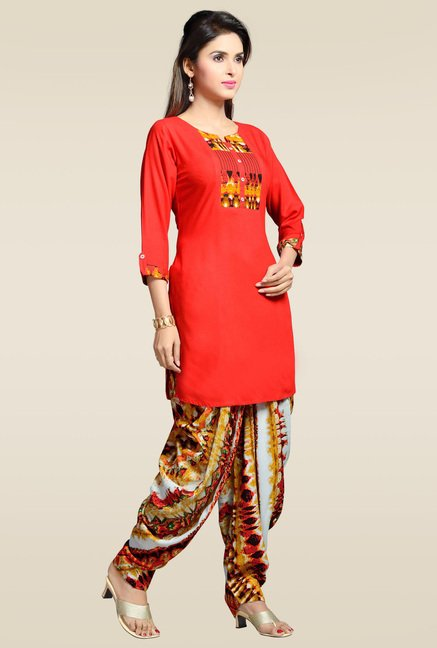 Zola Red Rayon Kurta with Multicolor Patiyala