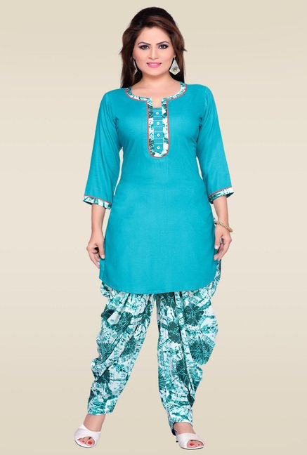 Zola Aqua Blue Kurta with Multicolor Patiyala