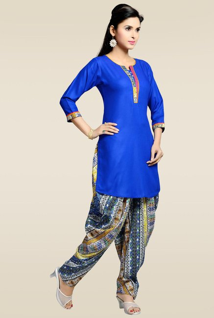 Zola Royal Blue Kurta with Multicolor Patiyala