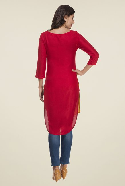 Rigo Red & Yellow Solid Kurti