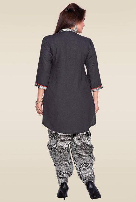 Zola Black Kurta with Patiyala