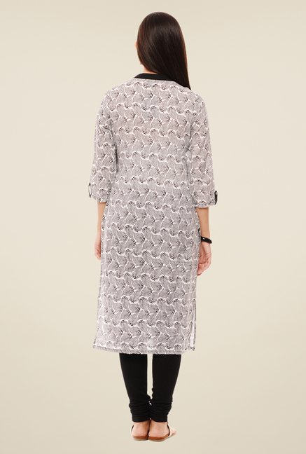 Rigo Off White & Black Printed Kurta