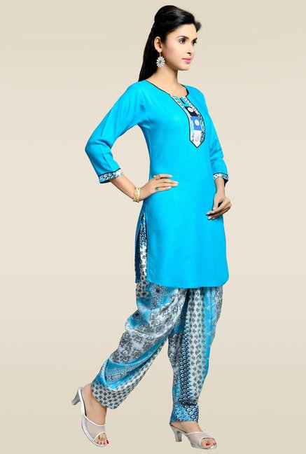 Zola Blue Kurta with Printed Patiyala