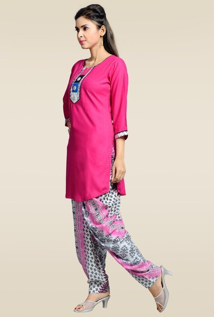Zola Pink Kurta with Printed Patiyala
